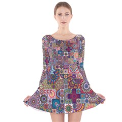 Ornamental Mosaic Background Long Sleeve Velvet Skater Dress