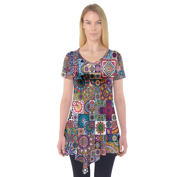 Ornamental Mosaic Background Short Sleeve Tunic