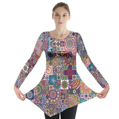 Ornamental Mosaic Background Long Sleeve Tunic