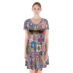 Ornamental Mosaic Background Short Sleeve V-neck Flare Dress