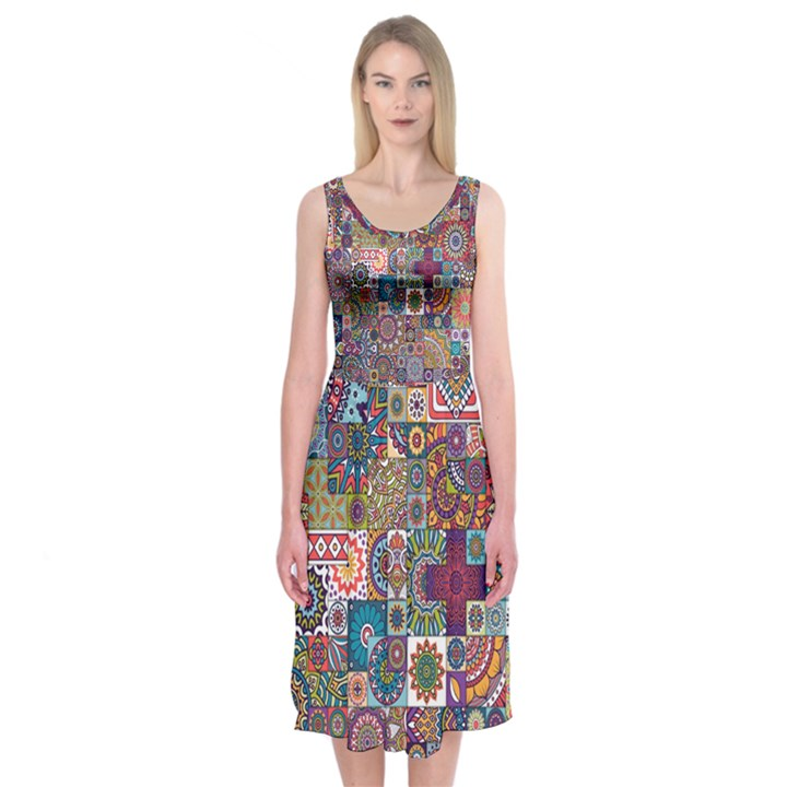 Ornamental Mosaic Background Midi Sleeveless Dress