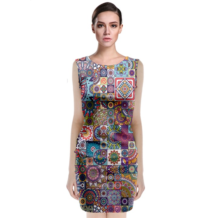 Ornamental Mosaic Background Classic Sleeveless Midi Dress
