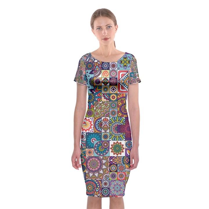 Ornamental Mosaic Background Classic Short Sleeve Midi Dress