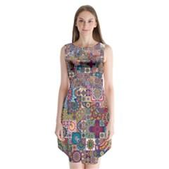 Ornamental Mosaic Background Sleeveless Chiffon Dress