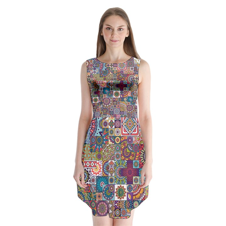 Ornamental Mosaic Background Sleeveless Chiffon Dress