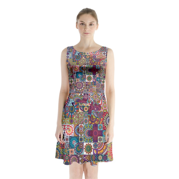Ornamental Mosaic Background Sleeveless Chiffon Waist Tie Dress