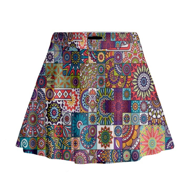 Ornamental Mosaic Background Mini Flare Skirt