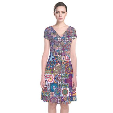 Ornamental Mosaic Background Short Sleeve Front Wrap Dress