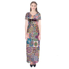 Ornamental Mosaic Background Short Sleeve Maxi Dress