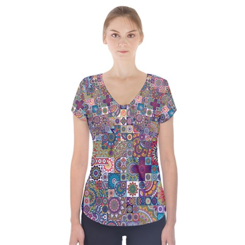 Ornamental Mosaic Background Short Sleeve Front Detail Top