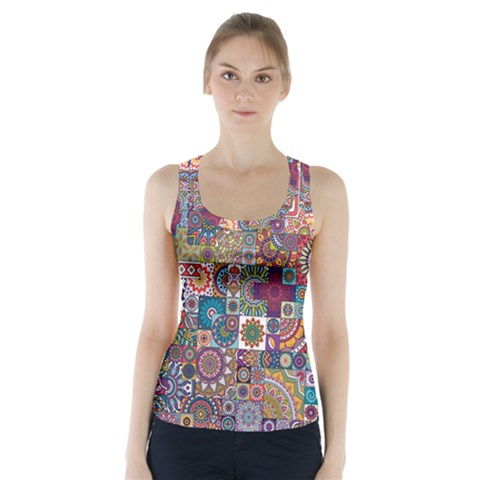 Ornamental Mosaic Background Racer Back Sports Top