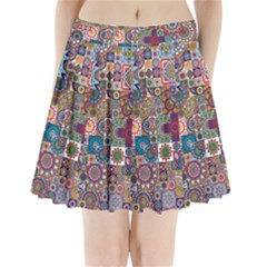 Ornamental Mosaic Background Pleated Mini Skirt