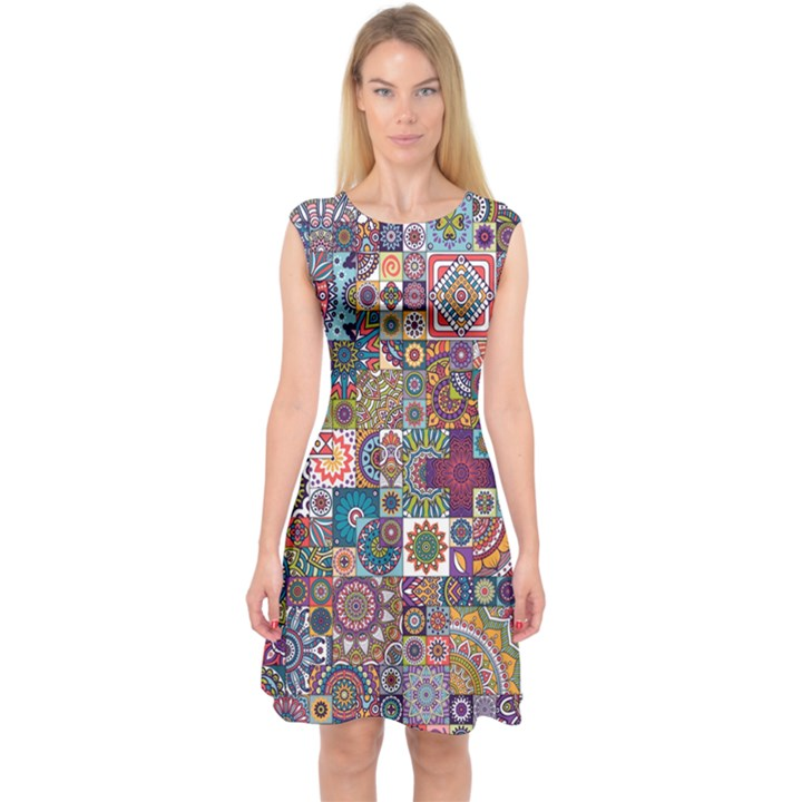 Ornamental Mosaic Background Capsleeve Midi Dress
