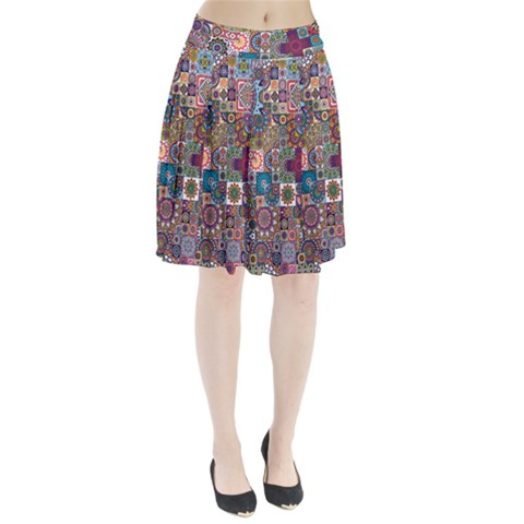 Ornamental Mosaic Background Pleated Skirt