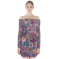 Ornamental Mosaic Background Long Sleeve Off Shoulder Dress