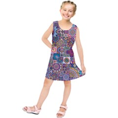 Ornamental Mosaic Background Kids  Tunic Dress