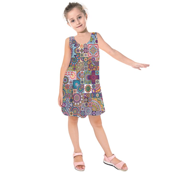 Ornamental Mosaic Background Kids  Sleeveless Dress