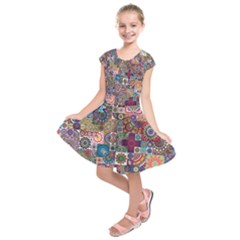 Ornamental Mosaic Background Kids  Short Sleeve Dress