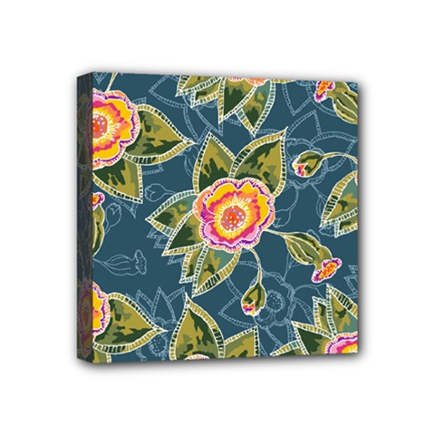 Floral Fantsy Pattern Mini Canvas 4  X 4