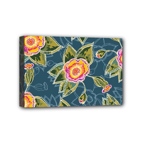Floral Fantsy Pattern Mini Canvas 6  x 4
