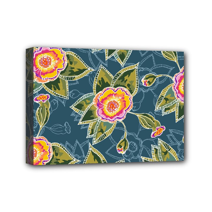 Floral Fantsy Pattern Mini Canvas 7  x 5