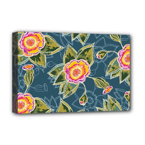 Floral Fantsy Pattern Deluxe Canvas 18  x 12