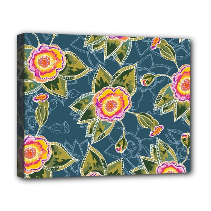 Floral Fantsy Pattern Deluxe Canvas 20  x 16