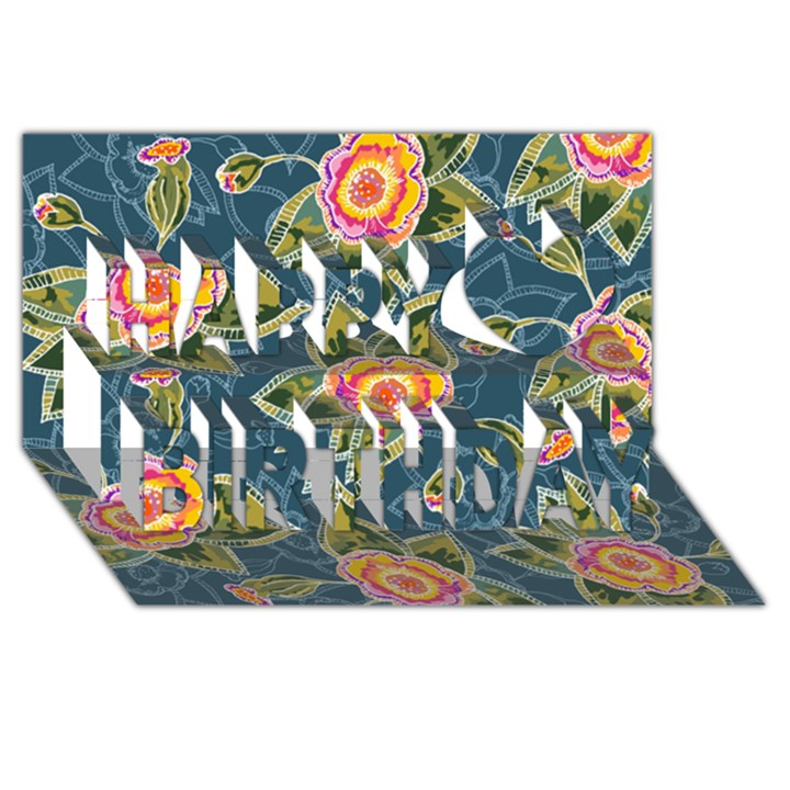 Floral Fantsy Pattern Happy Birthday 3D Greeting Card (8x4)