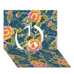 Floral Fantsy Pattern Peace Sign 3D Greeting Card (7x5)