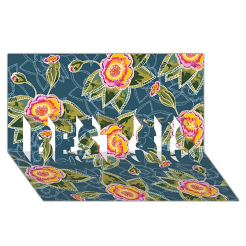 Floral Fantsy Pattern BEST SIS 3D Greeting Card (8x4)