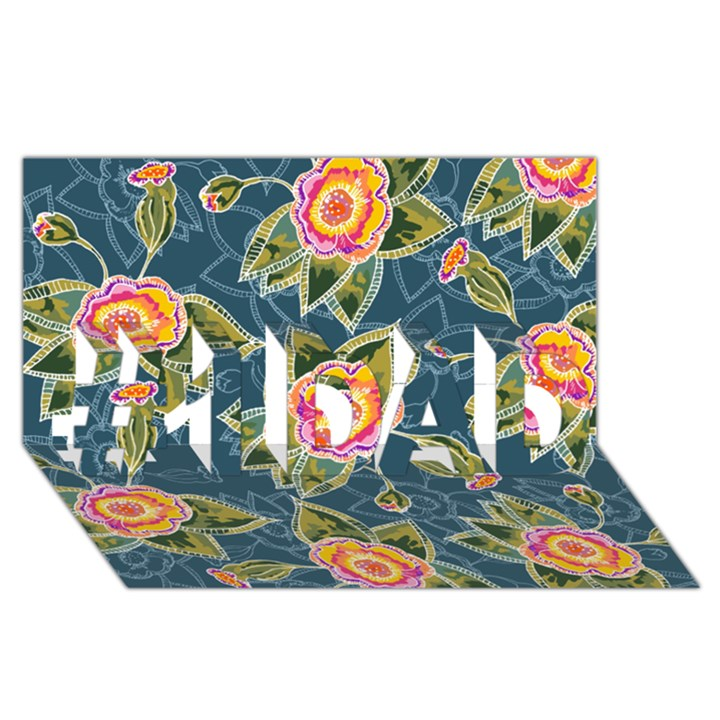 Floral Fantsy Pattern #1 DAD 3D Greeting Card (8x4)