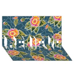 Floral Fantsy Pattern BELIEVE 3D Greeting Card (8x4)