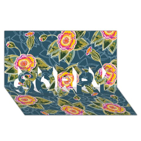Floral Fantsy Pattern SORRY 3D Greeting Card (8x4)