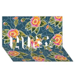Floral Fantsy Pattern Hugs 3d Greeting Card (8x4)