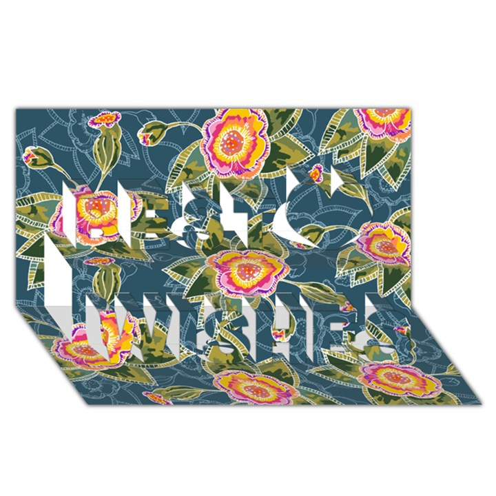 Floral Fantsy Pattern Best Wish 3D Greeting Card (8x4)