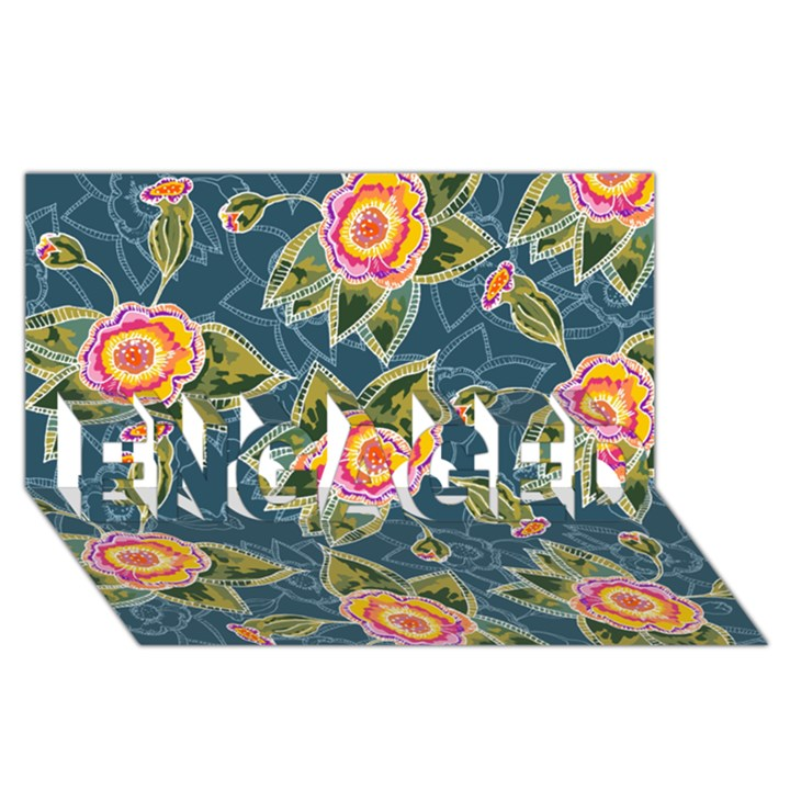 Floral Fantsy Pattern ENGAGED 3D Greeting Card (8x4)