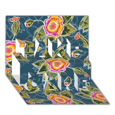 Floral Fantsy Pattern TAKE CARE 3D Greeting Card (7x5)