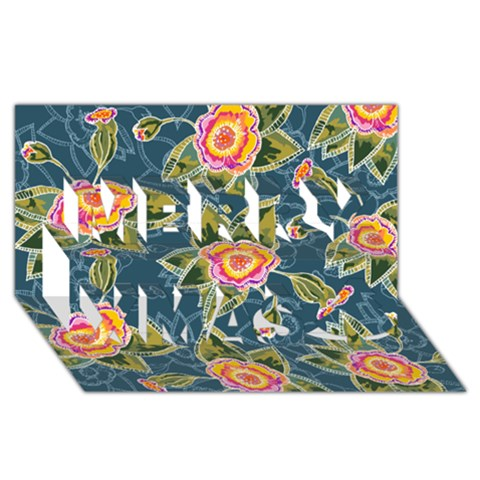 Floral Fantsy Pattern Merry Xmas 3D Greeting Card (8x4)