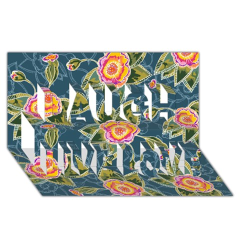 Floral Fantsy Pattern Laugh Live Love 3D Greeting Card (8x4)