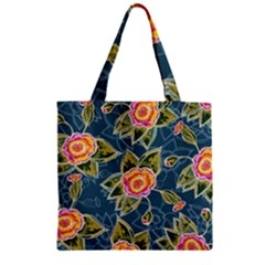 Floral Fantsy Pattern Zipper Grocery Tote Bag