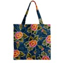 Floral Fantsy Pattern Zipper Grocery Tote Bag View1