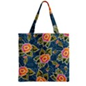 Floral Fantsy Pattern Zipper Grocery Tote Bag View2