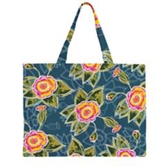Floral Fantsy Pattern Large Tote Bag