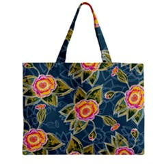 Floral Fantsy Pattern Medium Zipper Tote Bag