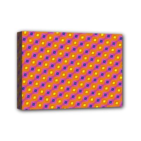 Vibrant Retro Diamond Pattern Mini Canvas 7  X 5