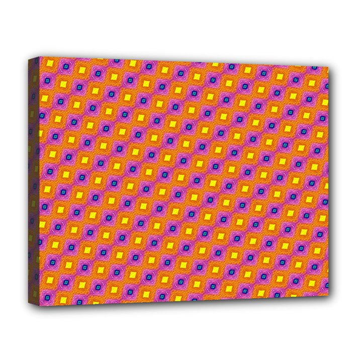 Vibrant Retro Diamond Pattern Canvas 14  x 11