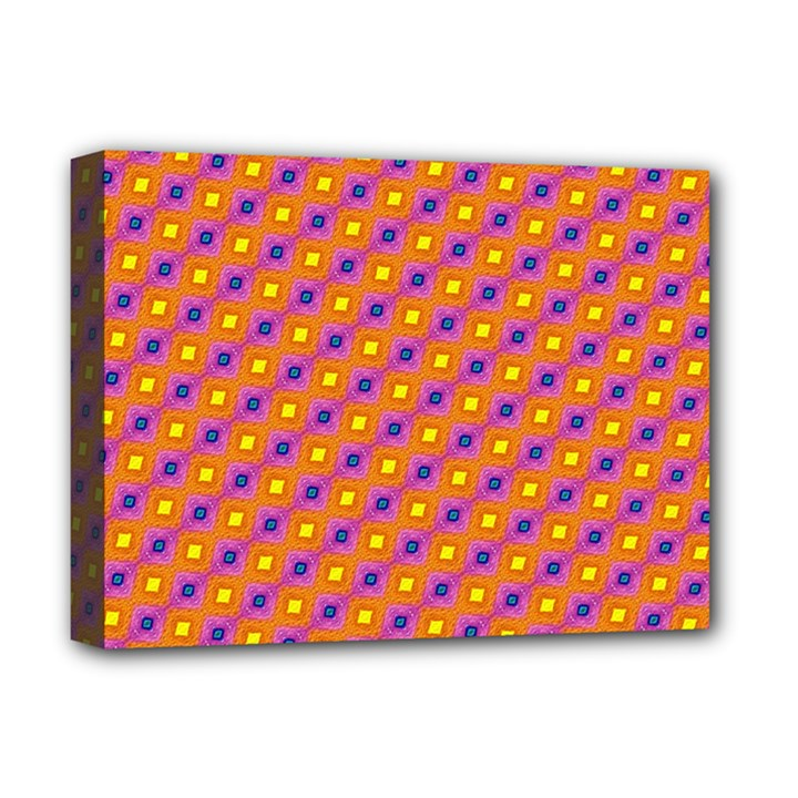 Vibrant Retro Diamond Pattern Deluxe Canvas 16  x 12