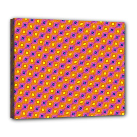 Vibrant Retro Diamond Pattern Deluxe Canvas 24  X 20