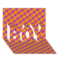 Vibrant Retro Diamond Pattern Boy 3d Greeting Card (7x5)