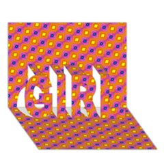 Vibrant Retro Diamond Pattern Girl 3d Greeting Card (7x5)